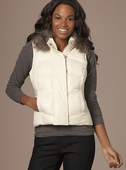 "The Limited's fur-trimmed puffer vest, $98 <a href=""http://www.thelimited.com/detail/puffer-vest/2718643"">online</a>."