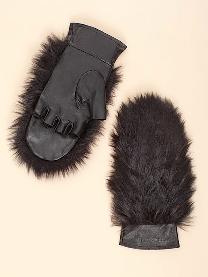"Juicy Couture's leather and <em>faux</em>-fur mittens, $85 <a href=""http://www.juicycouture.com/accessories/cold-weather/ytruc204/faux-fur-leather-mitten"">online</a>."