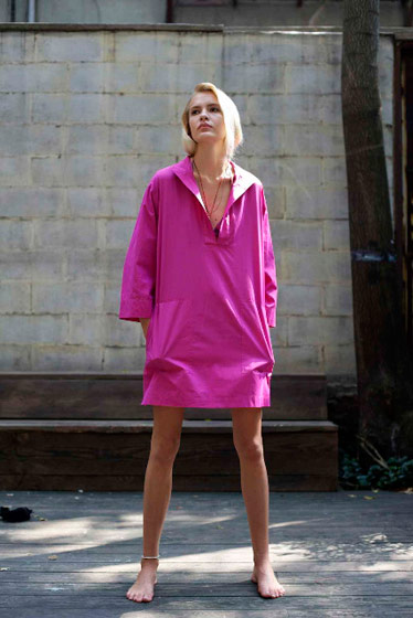 Wauwinet dress in bright pink cotton poplin, $250.