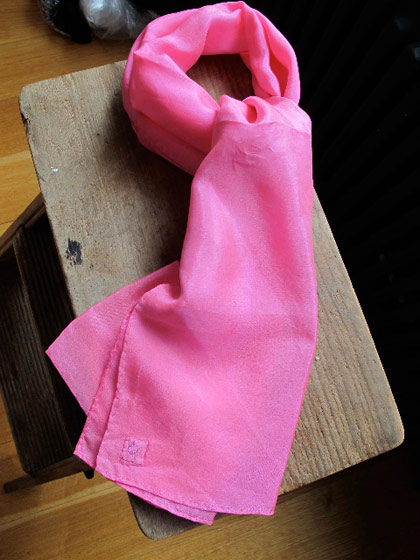 Hot pink silk habotai ascot, $75.