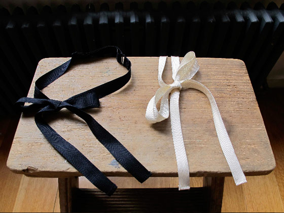 Adjustable bow ties in navy and ivory, $32.