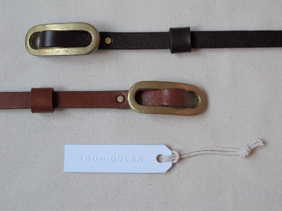 Tack belt in bridle leather with sold brass hardware, $120.