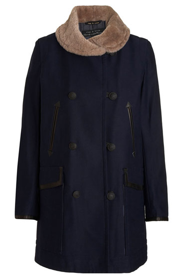 Rag & Bone wool coat with shearling trim, $895 at barneys.com.