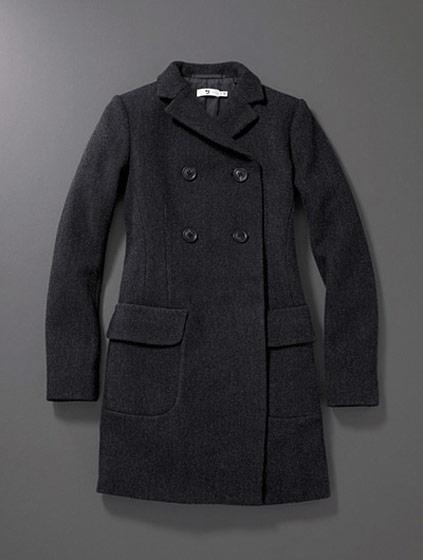 From Uniqlo's +J line, a snug-fitting herringbone coat, $189.90.