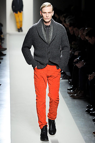 "See more from <a href=""http://nymag.com/fashion/fashionshows/2011/fall/main/europe/menrunway/bottegaveneta/"">Bottega Veneta's Fall 2011 Menswear Collection</a>."