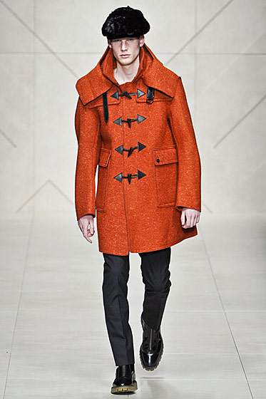 "See more from <a href=""http://nymag.com/fashion/fashionshows/2011/fall/main/europe/menrunway/burberry/"">Burberry Prorsum's Fall 2011 Menswear Collection</a>."