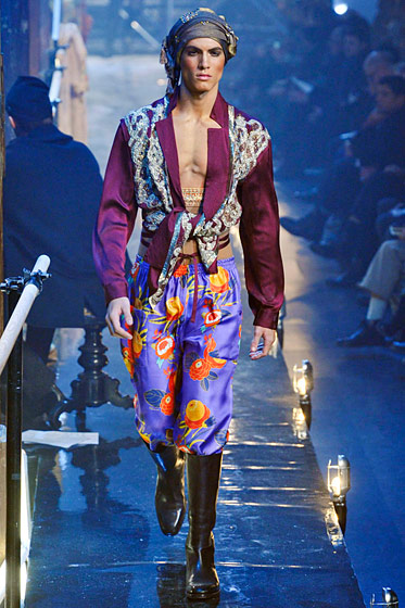 "See more from <a href=""http://nymag.com/fashion/fashionshows/2011/fall/main/europe/menrunway/johngalliano/"">John Galliano's Fall 2011 Menswear Collection</a>."