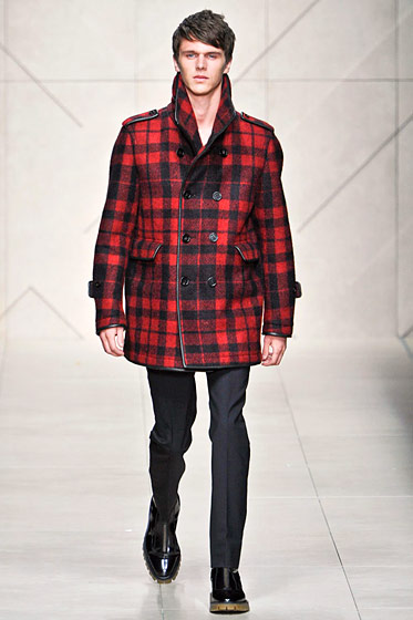"See more from <a href=""http://nymag.com/fashion/fashionshows/2011/fall/main/europe/menrunway/burberry/"">Burberry Prorsum Fall 2011 Menswear.</a>"