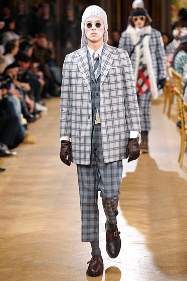 "See more from <a href=""http://nymag.com/fashion/fashionshows/2011/fall/main/europe/menrunway/thombrowne/"">Thom Browne Fall 2011 Collection</a>"