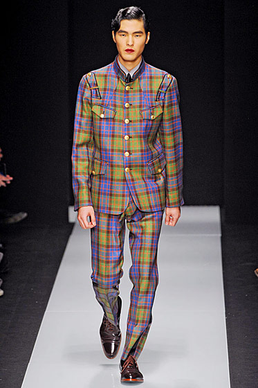 "See more from <a href=""http://nymag.com/fashion/fashionshows/2011/fall/main/europe/menrunway/viviennewestwood/"">Vivienne Westwood Fall 2011 Menswear</a>."