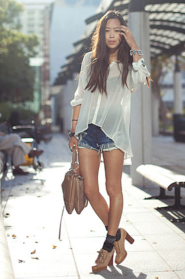 "Aimee Song, shot in L.A. for <a href=""http://www.chictopia.com/photo/show/393223-weather+in+california+is+too+g-white-anarchy-street-shirt-neutral-haven-satchel-botkier-bag-blue-cut-offs-l"">Chictopia</a>."