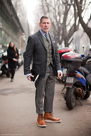 "Nick Wooster, shot in Stockholm by <a href=""http://carolinesmode.com/stockholmstreetstyle/art/199980/nick_wooster/"">Stockholm Streetstyle</a>."