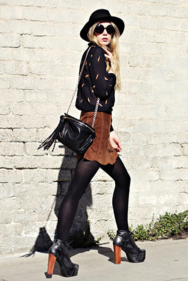 "Carolina E., shot in Stockholm for <a href=""http://lookbook.nu/look/1531193-feathers-suede-fashionsquad"">Lookbook.nu</a>."