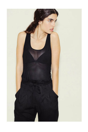 Sheer top, $79; bow-belt trousers, $119.