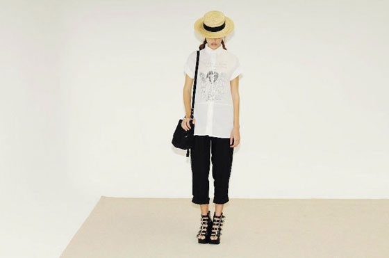 Printed button-up shirt, $89; cropped pants, $119; shoulder bag, $89; straw hat, $59.