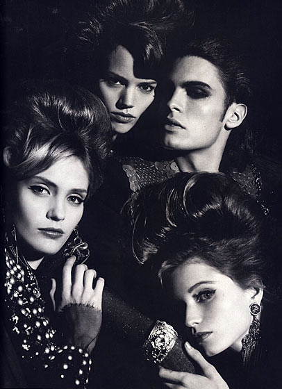 Shot by Karl Lagerfeld for <i>Numéro Homme</i>, alongside Freja Beha, Heidi Mount, and Abbey Lee.