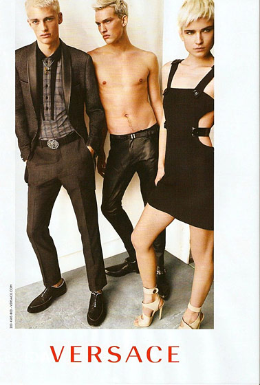 The face of Versace with Victor Nylander and Malthe Lund Madsen spring 2011. Photographed by Mario Testino.