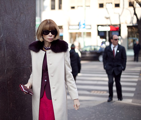 Anna Wintour, editor-in-chief of American <em>Vogue</em>, from New York.