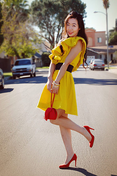 "Hallie, shot in California for <a href=""http://www.chictopia.com/photo/show/397828-Tangerines+and+Oranges-yellow-lanvin-for-h-m-dress-1-thrifted-bag-red-suede-christian-louboutin-hee"">Chictopia</a>."
