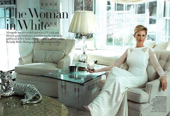 So this is where Andrew Cuomo lives: in a girly all-white place with a metal tiger statue.