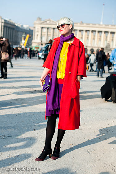 "Elisa Nalin, shot in Paris by <a href=""http://www.gastrochic.com/2011/fashion/elisa-nalin-colorblocking-it-at-sonia-rykiel/"">Gastro Chic</a>."