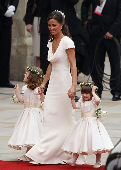 Pippa Middleton in Alexander McQueen; young bridesmaids in Nicki Macfarlane.
