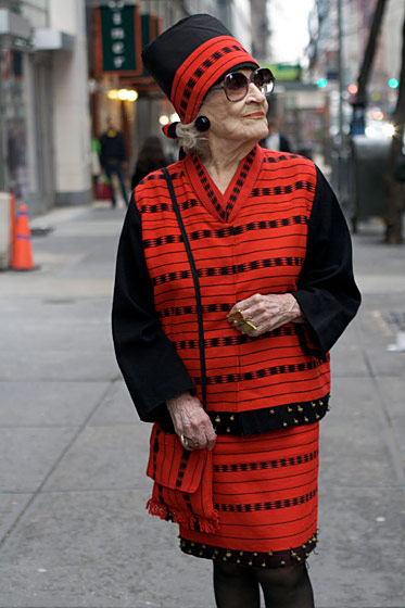 "Zelda Kaplan, shot in New York by <a href=""http://advancedstyle.blogspot.com/2011/04/zelda-kaplan-at-94-years-young.html"">Advanced Style</a>."