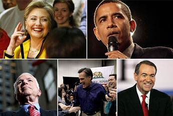 Hillary Barack McCain Romney Huckabee