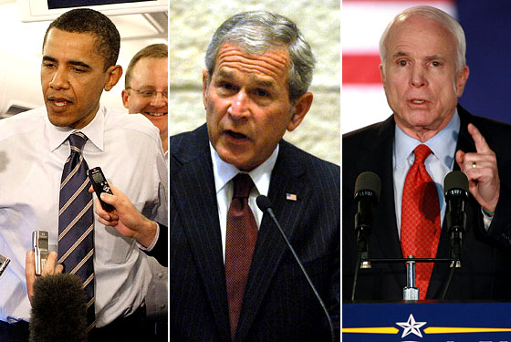 obama, bush, and mccain