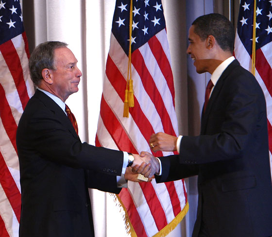 11/30/07: Michael Bloomberg ultimately decided not to run for president as a self-financed independent, but his moderate credentials and business experience made him an attractive potential running mate, or endorser, for the candidates. He breakfasted with Obama at the end of November, 2007.