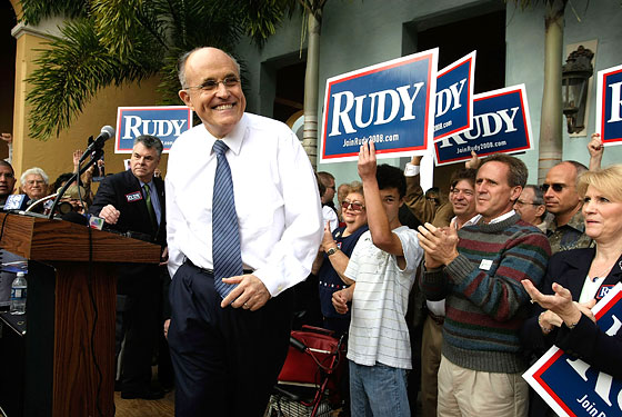 January 2008: Rudy wasn't really competitive in any of the early states, so he bided his time, allowed the other candidates to gain momentum, and struck at the exact right primary: Florida, where he came in a distant third and subsequently dropped out of the race.