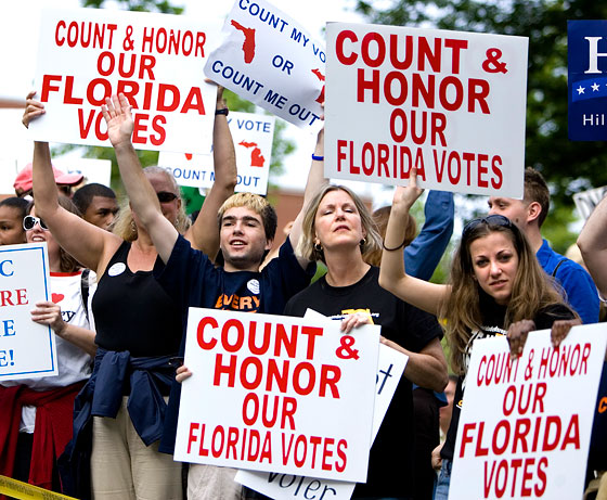 5/31/08: Florida and Michigan lost their delegates to the Democratic National Convention way back when they scheduled their primaries in violation of the DNC calendar. But nobody really cared too much until it turned out that those delegates could have decided the Democratic nomination.