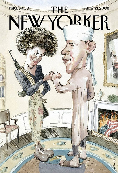 7/13/08: <em>New Yorker</em> readers understood that the depiction of Obama as a Muslim terrorist sympathizer and his wife as a sixties radical was satire. But many commentators worried less astute people wouldn't get it. Outrage ensued.