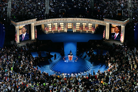 8/27/08: Even as the stage was being constructed for his convention speech, Obama was being accused, again, of narcissism. The set did kind of look like a Greek temple, but really it was just designed in the style of most prominent buildings in Washington D.C.