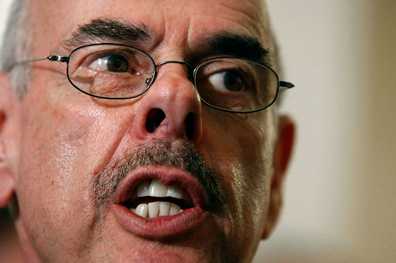 Oversight Committee Chairman Henry Waxman wields his mustache like a weapon -- note how it trembles threateningly when he quizzes greedy financiers.