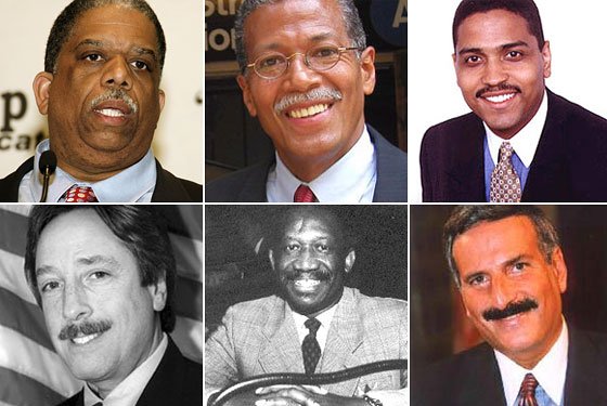 Holy mouth manes! There's a trend going in City Council. Clockwise from left: Leroy Comrie, Robert Jackson, Miguel Martinez, David Weprin, Larry Seabrook, Michael Nelson.