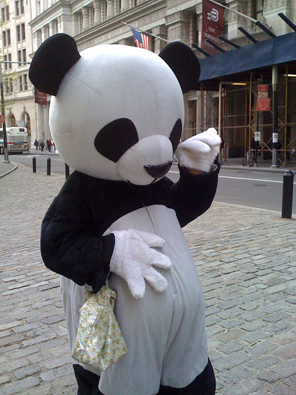 "But the Panda occasionally seemed to experience brief moments of joy. In this photo taken by reader Jeff Bladt, he is, for instance, doing what appears to be the <a href=""http://www.youtube.com/watch?v=RFzyYYZsxGc"">Las Ketchup</a> dance. But he might just have a bellyache. It's hard to tell with the Sad Panda. Like when a baby looks like it's smiling, but it really has gas."