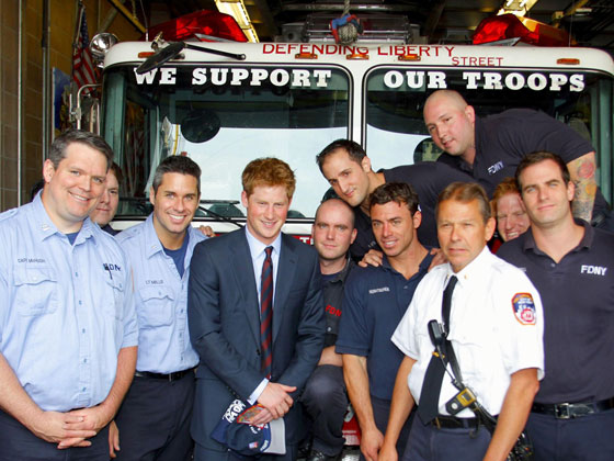 Good God. Could we please have another version of this photo, just with Harry and the firefighters in the front row that are third, sixth, and ninth from left please? With, um, the fire hose if at all possible?
