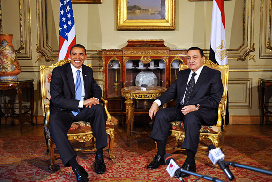 The President of Egypt attempts to make that face Obama always seems to be making.