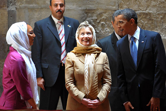 "Obama: ""Hillary, that headscarf does wonders for your -- ""<br>