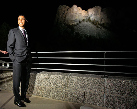 "During a stop at Mount Rushmore before the South Dakota primary, Obama was asked if he'd like to see himself up there alongside the other presidents someday. ""I don't think my ears would fit,"" he said. ""There's only so much rock up there."""