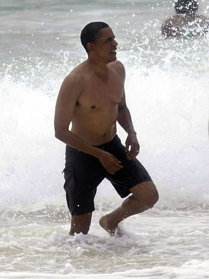 "Paparazzi shots of a shirtless Obama on vacation in Hawaii whipped voters into a frenzy last year. Peter Moore, the editor of <em>Men's Health</em>, <a href=""http://www.politico.com/news/stories/1208/16802.html"">aptly summed up the national reaction</a>. ""No love handles to speak of on the sides. You see the definitions in his arms. He's a dude. Wow."""