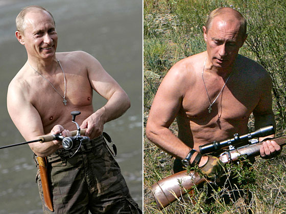 The Russian president's appearance of virile manliness in these shots from 2007 was only slightly undermined by his high-waisted trousers.