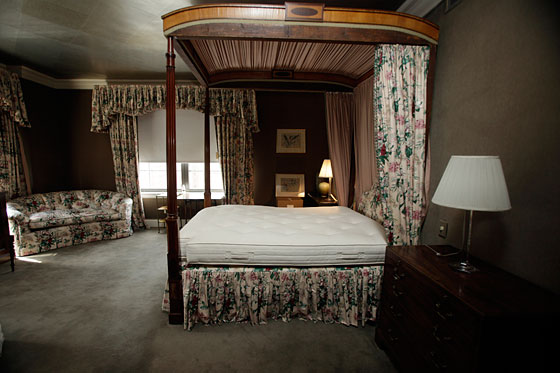 "Juliet Papa of 1010 Wins was offended by the floral upholstery on the Madoff's large, custom-made canopy bed, and notes that the windows in the room were ""overdressed with florals and frills that matched the upholstery."""