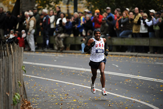 By the end of the race, the Eritrean-born American was all alone in front.