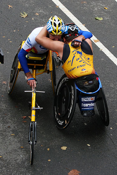 Fearnley, the winner of his category, embraces a competitor.