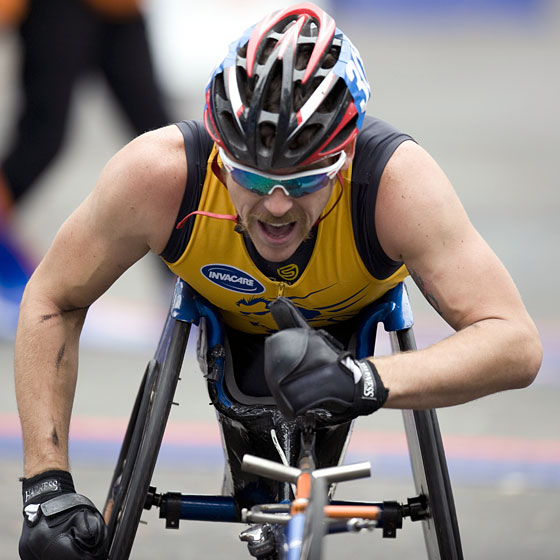 The eventual winner of the wheelchair division powers through the finish.