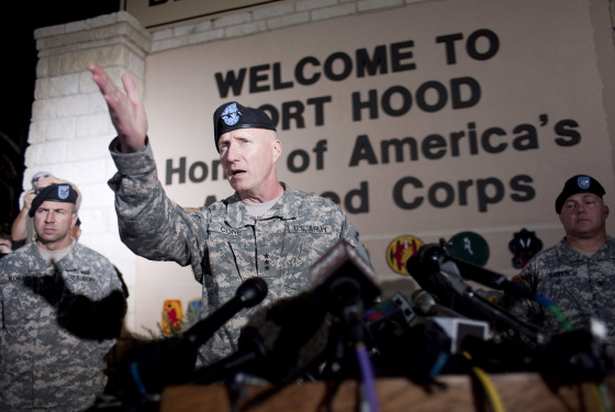 Lt. Gen. Robert Cone speaks during a press conference at Fort Hood in Texas.