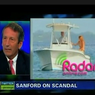 Mark Sanford on CNN; Mark Sanford on a boat with his girlfriend.
