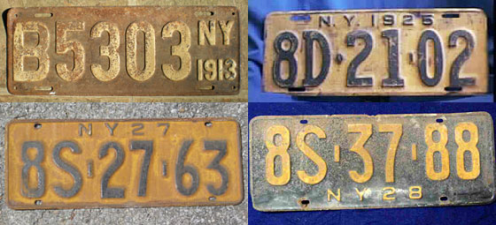 As the Model T makes car ownership more commonplace, the state switches back to cheaper, utilitarian painted steel. Plates now display the year of issue. In 1925, the orangey gold that will dominate many subsequent designs appears for the first time. <br>